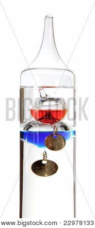 Galileo Thermometer On The White