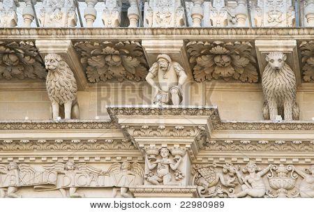 Detalhe barroco - Basílica de Santa Cruz - Lecce, Puglia, Itália