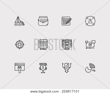 poster of Seo Icons Set. Seo Optimization And Seo Icons With Page Content, Portfolio And Video Marketing. Set