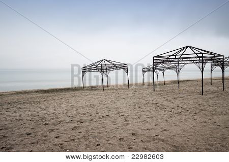 Tents on the deserted beach