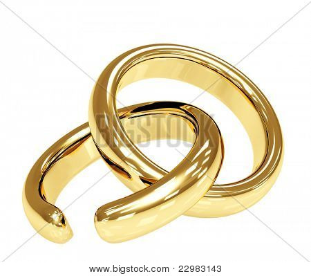 Symbol of divorce - broken wedding ring. Isolated over white