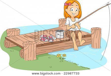 Ilustração de um miúdo de pesca