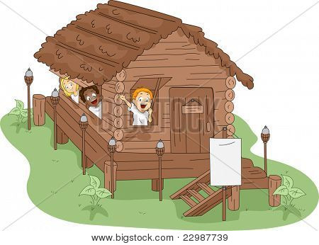 Ilustração de crianças em uma casa de campo