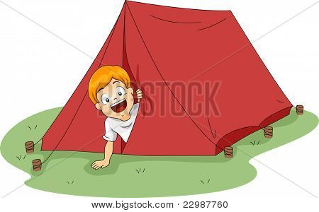 Illustration of a Boy Peeking From a Tent