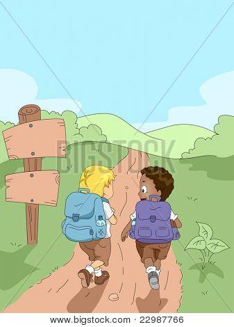 Ilustração de caminhadas em um acampamento de crianças