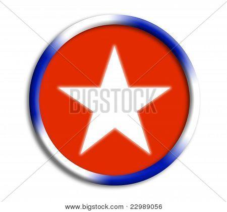 Cuba button shield on white background