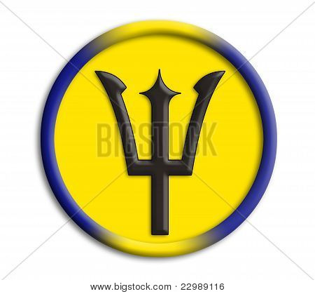 Barbados button shield on white background