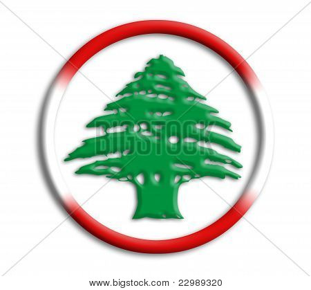 Lebanon button shield on white background