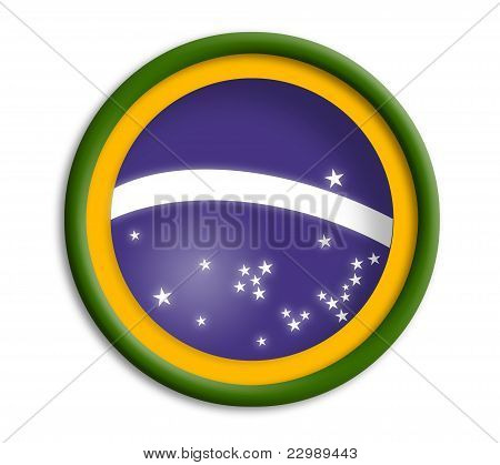 Brazil button shield on white background