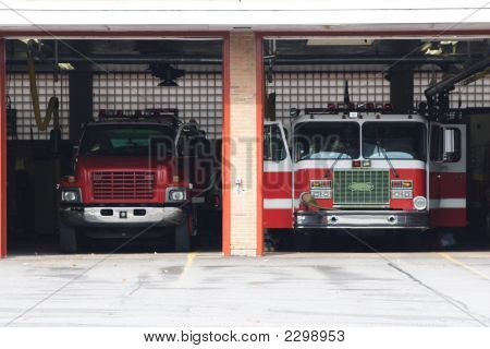 Fire Trucks parked in the station