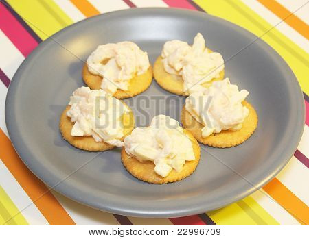 Shrimp and Egg Salad on Crackers