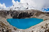 Lake Laguna 69 And Chakrarahu Mountain Are Situated In The Huascaran National Park In The Andes Of P poster