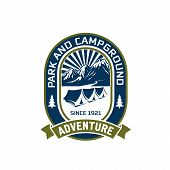 Camping Adventure Or Mountain Camp And Outdoor Hiking Club Badge Design. Vector Isolated Icon Of Cam poster