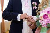 Bride Puts Wedding Ring On Grooms Finger. Bride And Groom Exchange Rings In Wedding Day. Wedding Cer poster