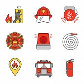 Firefighting Color Icons Set poster