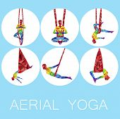 Aerial Yoga Icons With Woman Silhouette In Different Yoga Poses. Girl Doing Anti Gravity Yoga Exerci poster