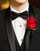 Prom Formalwear Detail Of Bow Tie And Boutonniere poster