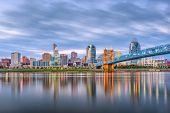 Cincinnati, Ohio, USA skyline on the river at dusk. poster