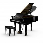 stock photo of grand piano  - 3D rendered image on white background  - JPG