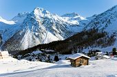 stock photo of winter landscape  - Nice winter landscape in the swiss alps - JPG