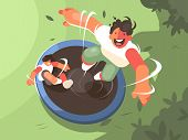 Two Guys Jumping On Trampoline. Fun Entertainment And Recreation. Vector Illustration poster