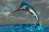image of sailfish  - A spectacular Blue Marlin flashes its iridescent colors as it bursts from the ocean - JPG