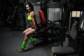 Brunette Sexy Athletic Young Girl Working Out In Gym poster