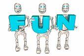 Fun Robots Holding Letters Recreation Entertainment 3d Illustration poster