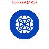 Vector Diamond (dmd) Digital Cryptocurrency Logo. Diamond (dmd) Icon. Vector Illustration Isolated O poster