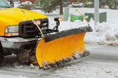 Snow Plow Cleaning Snow From City Road Snow Blizzard Clearing Roads From Snow poster