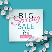 Spring Sale Floral Banner With Paper Cut Blooming Pink Cherry Flowers On Blue Background For Seasona poster