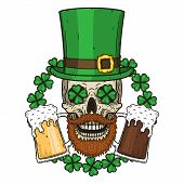 The Skull Of Saint Patricks With Green Hat And Clover Leaves. Irish Skull. St.patrick Skull Vector. poster