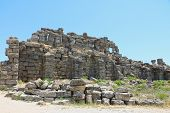The Ruins Of The Ancient City Of Side. Side Is An Ancient Greek City On Mediterranean Coast Of Turke poster
