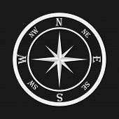 Compass, White Compass On A Black Background. Compass Icon. Flat Design, Vector Illustration, Vector poster