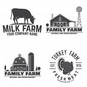 Family Farm, Turkey Farm And Milk Farm Badges Or Labels. Vector Illustration. Vintage Typography Des poster