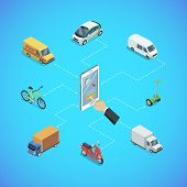 City Transport Infrastructure Isometric Infographics. Freight Truck, Delivery Van, Bicycle, Scooter, poster