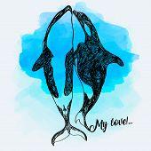 Killer Whale Doodle Illustration. Fantasy Sketch. Hand Drawn Vector Illustration. The Concept Of A T poster