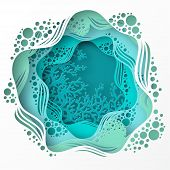 Paper Underwater Sea Cave With Coral Reef, Seabed In Algae, Waves. Paper Cut Deep Style Vector.  Dee poster