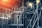 Stainless Steel Brewing Equipment : Large Reservoirs Or Tanks And Pipes In Modern Beer Factory. Brew poster