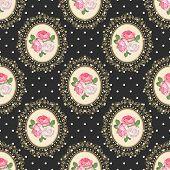 Shabby Chic Rose Seamless Pattern On Black Polka Dot Background. Vector Illustartion. poster