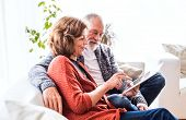 Happy Senior Couple With Tablet Relaxing At Home. poster