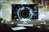 Close Up Of Creative Designer Workplace With Creative Digital Business Hologram. Finance And Innovat poster