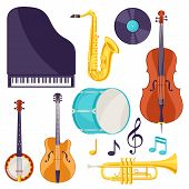Set Of Musical Instruments. Jazz, Blues And Classical Music. poster