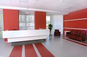 picture of business-office  - Business office reception in white and red colors - JPG
