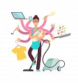 Super Busy Mother Working And Cooking Simultaneously Vector Concept. Busy And Cooking, Mother With B poster