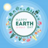 Happy Earth Day Greeting Card With Planet And Space. poster