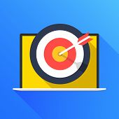 Laptop And Target With Arrow. Targeting Concept. Modern Flat Design Graphic Elements. Long Shadow St poster