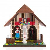 Miniature weather house with man and woman indoor and outdoor poster