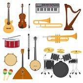 Musical Instruments Vector Music Concert With Acoustic Guitar Or Balalaika And Musicians Violin Or H poster