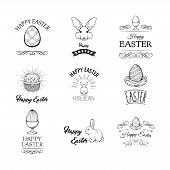 Happy Easter Set In Flat Style .vector Collection For Easter Design. Happy Easter.easter Design Elem poster